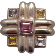 SALE Sterling Silver Geometric Square Pink, Yellow and Blue Gem Ring size 7