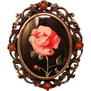 SALE 800 Silver Frame with Hand Painted Rose Picture Brooch or Pendant