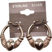 SALE Sterling Silver Puffy Claddagh Hoop Earrings