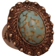SALE 850 Silver and Glass Turquoise Ring size 4