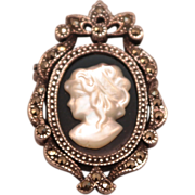 SALE Sterling Silver Black Onyx and Mother of Pearl Cameo Pin or Pendant with Marcasite ...