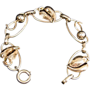 SALE Napier Gold Washed Sterling Silver 8 inch Leaf Bracelet