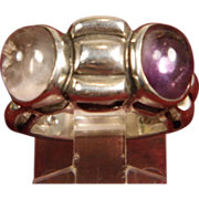 SALE Sterling Silver Amethyst and Clear Quartz Bug Eye Ring size 5