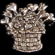 SALE Heavy Dimensional Sterling Silver Basket of Heart Shaped Flowers Brooch