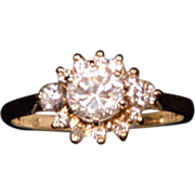 14K Yellow Gold Diamond Halo Ring with Center Cubic Zirconia Ring size 10.5