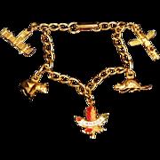 SALE 1970s Gold Tone Canada Charm Bracelet