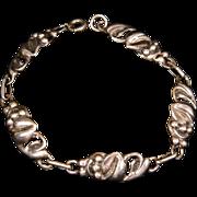 SALE Sterling Silver Leaf Link Bracelet