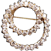 SALE Sterling Silver Gold Vermeil Double Circle CZ Brooch