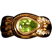 SALE Sterling Silver Vermeil Peridot Ring size 5