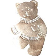 SALE Large Sterling Silver Teddy Bear Brooch