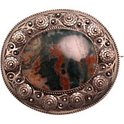 SALE Large Vintage Oval European 800 Silver and Moss Agate Brooch