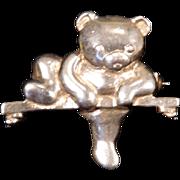 Solid Sterling Silver Teddy Bear on Tree Branch Brooch