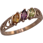 Vintage Sterling  Silver AVON 3 Marquis Stone Colored Gem Band Ring size 11