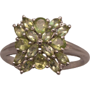 SALE Sterling Silver Natural Peridot Cluster Ring size 9