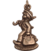 Sterling Silver Goebel Hummel Club 1990 Charm of Boy with Briefcase and Umbrella