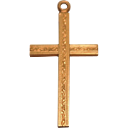 SALE Early 12K Yellow Gold Filled Cross Pendant with Design on Both Sides