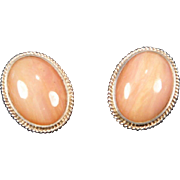 SALE Pink Opal Oval Cabochon & Sterling Silver Post Earrings