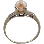 14K White Gold Engagement Ring with 6 mm Rose Cultured Pearl and Diamond Baguettes size 8.25