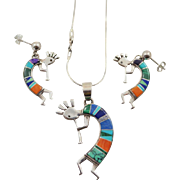 SALE Signed Calvin Begay Inlaid Sterling Silver Kokopelli Pendant and Earring Set