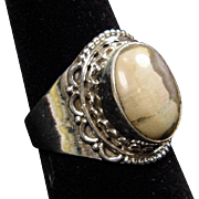 Unisex Sterling Silver Shades of Tan & Brown Agate Cabochon on Wide Band Ring size 8.25