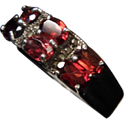 SALE Sterling Silver 6 Oval Garnet & Marcasite Accent Band Ring size 9