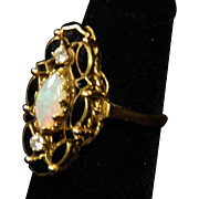 SALE Lovely 14K Yellow Gold Opal and Diamond Ring with Black Enamel size 6
