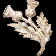 Vintage Silvertone UK-Made Thistle Brooch