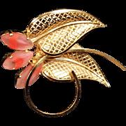 Vintage German Goldtone & Pink Glass Marquis Leaf Brooch