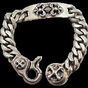 Heavy Unique Sterling Silver Fleur de Lis 8.5 inch Bracelet