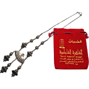 Dramatic Sterling Silver Dangle Bead 21 inch Necklace with Original Arabic Pouch