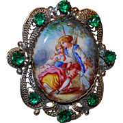 French Antique Filigree Enamel Romantic Brooch