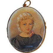 SALE Georgian French portrait miniature of a Young Girl in 18k gold frame with Hair ...
