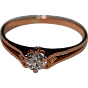 .25ct Edwardian French Diamond Solitaire Engagement Ring 18k Rose Gold