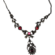 Antique French Victorian Silver Pink Paste & Marcasite Necklace