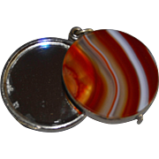 Antique French 1900 Agate Stone Silver Tone Slide Mirror Locket Pendant