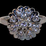 French Retro Vintage 1950' 18k Gold Sapphire & Diamond Ring