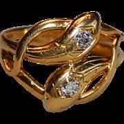 Art Deco French 18k Gold Double Snake 2 Diamonds Ring Unisex