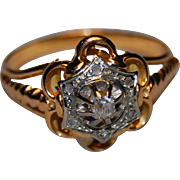 Vintage French Rose Diamond Ring  18k Rose & white Gold