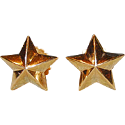 SOLD Antique French 19th Century 18 k Gold Star Shape Earrings
