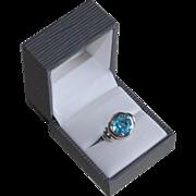 SALE Vintage Art Deco French Silver Blue Paste Ring