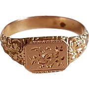 Victorian  Napoleon III French 18k Gold Signet Ring Rose Pattern