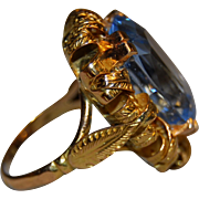 Outstanding Art Deco 16k Gold Blue Spinel Ring