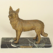 French bronze police dog