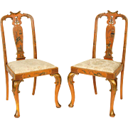 Pair of Queen Anne chinoiserie decorated chairs