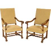 Pair of baroque style armchairs