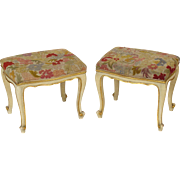 Pair of painted Louis XV style benches