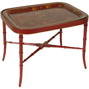 Red chinoiserie decorated tole tray table