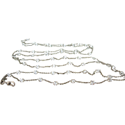 SOLD Art Deco Platinon Paste Crystal Open Back Guard Muff Chain European Necklace