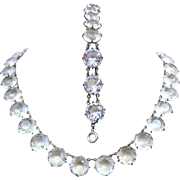 SALE PENDING Czech Art Deco Large Crystal Open Back Necklace & Bracelet Set