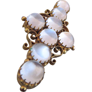 Antique 14k Yellow Gold Moonstone Brooch Pin